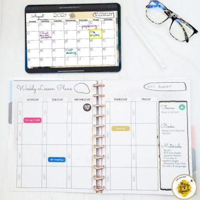 Digital and printable SLP planner