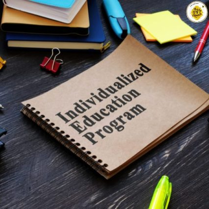 desk of individualized education program notebook