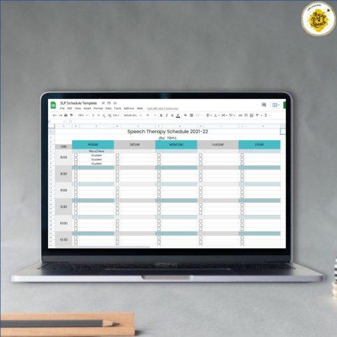 digital speech therapy schedule template