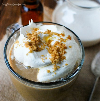 recipes for twenty super delicious hot drinks to warm you up during fall or winter! The perfect Fall Afternoon drink! This Maple Bourbon Coffee is Heaven in a cup!! - BusyBeingJennifer.com