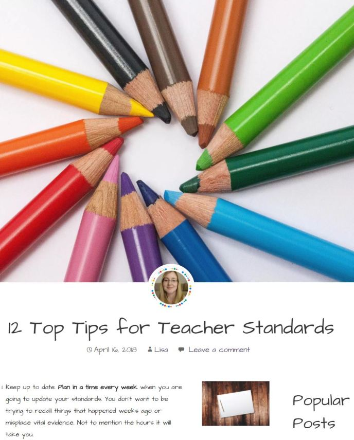 12 Top Tips for Standards Evidence PGCE NQT Student Teacher
