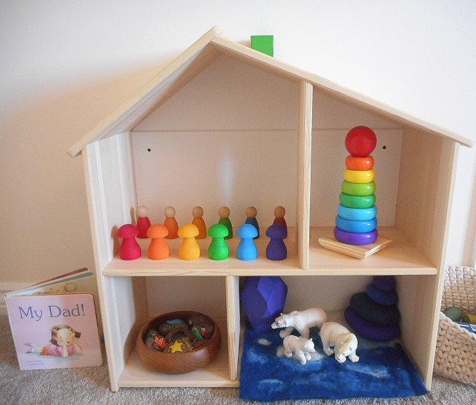 Shelfie - early years - toddler play - Preschooler - Grimms - Grapat - Eric&Albert - books - stories - Wooden Toys - Construction - Stacking- Mindfulness - Puzzles - Colours - Rainbow - Matching - Language - Words - Loose Parts - Farm Animals- Stories - Lanka Kade - Mushrooms - Story Stones - Rock Art - Small World