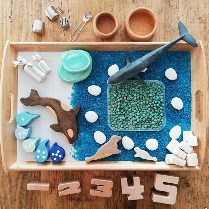 winter wonderland, riceplay, sensory play, creative play, waldorf inspired, wooden toys, learning through play, invitation to play, loose parts