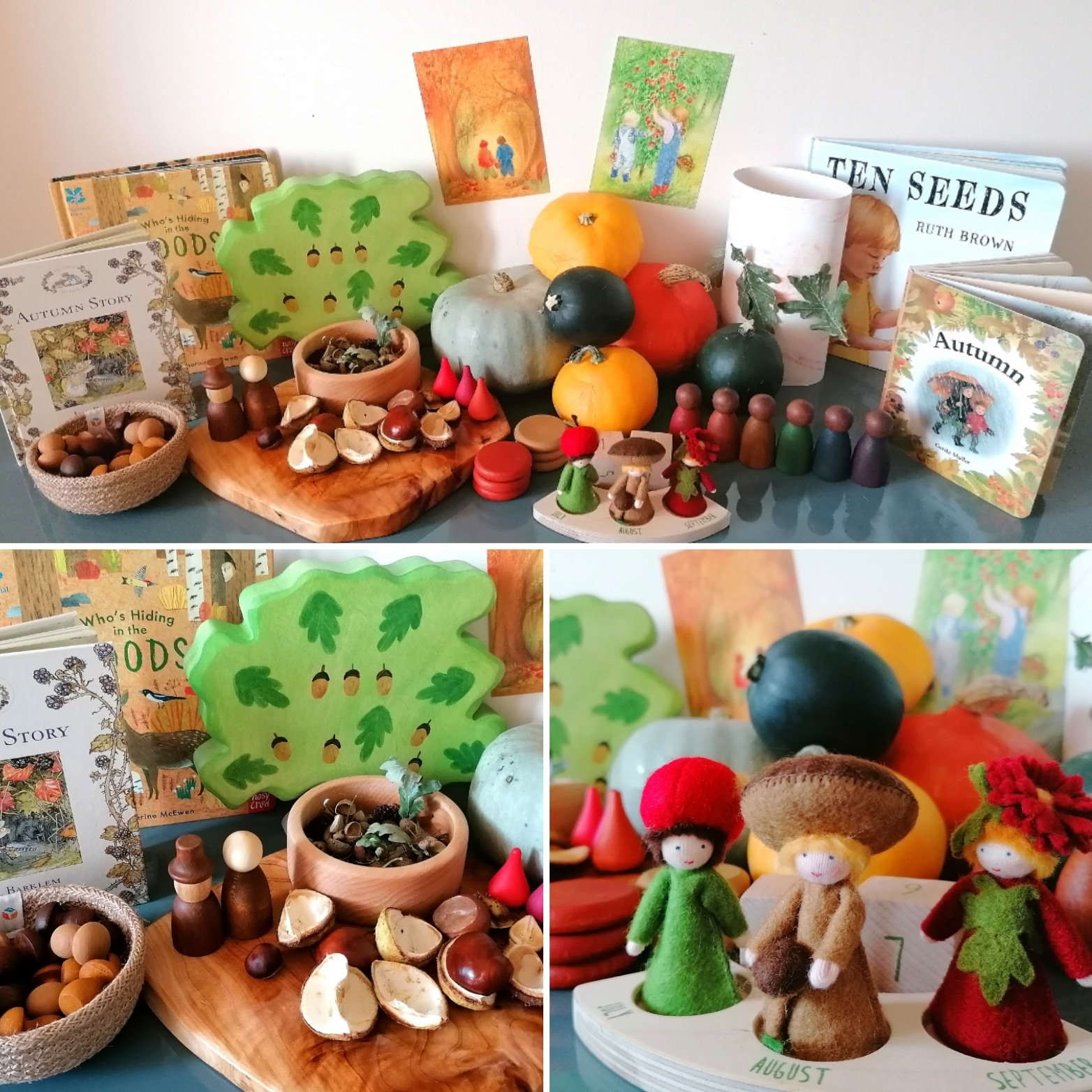 Autumn nature table display