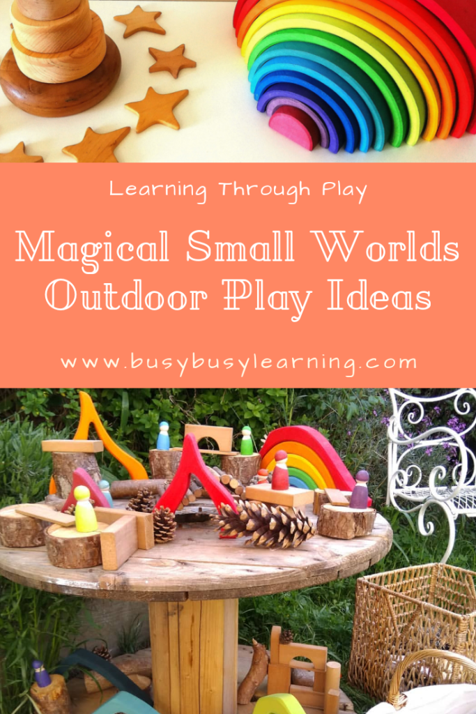small world play, outdoor play - nature play - loose parts - imaginative play - creative play - outdoor learning - early years - eyfs - kids garden - child garden - learning through play
