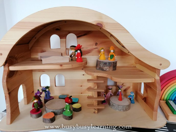 dolls house - wooden toys - ambrosius fairies - felted house - fairy house - grimms rainbow - rainbow glockenspiel - Scarewcrow's wedding - julia donaldson - singing mermaid - mermaid - ostheimer mermaid - black's toys volcano - volcano - lanka kade - dinosaurs - usborne books - Kerri's childminding - chalk houses - a seed is sleepy - enwc - exploring nature with children - olli ella - tiny - fabric doll - autumn - Gerda Muller - block play - small world play - bookish play - kids books - toy shelf - toy shelfie - toy organisation - toy organization - toy rotation - toy storage
