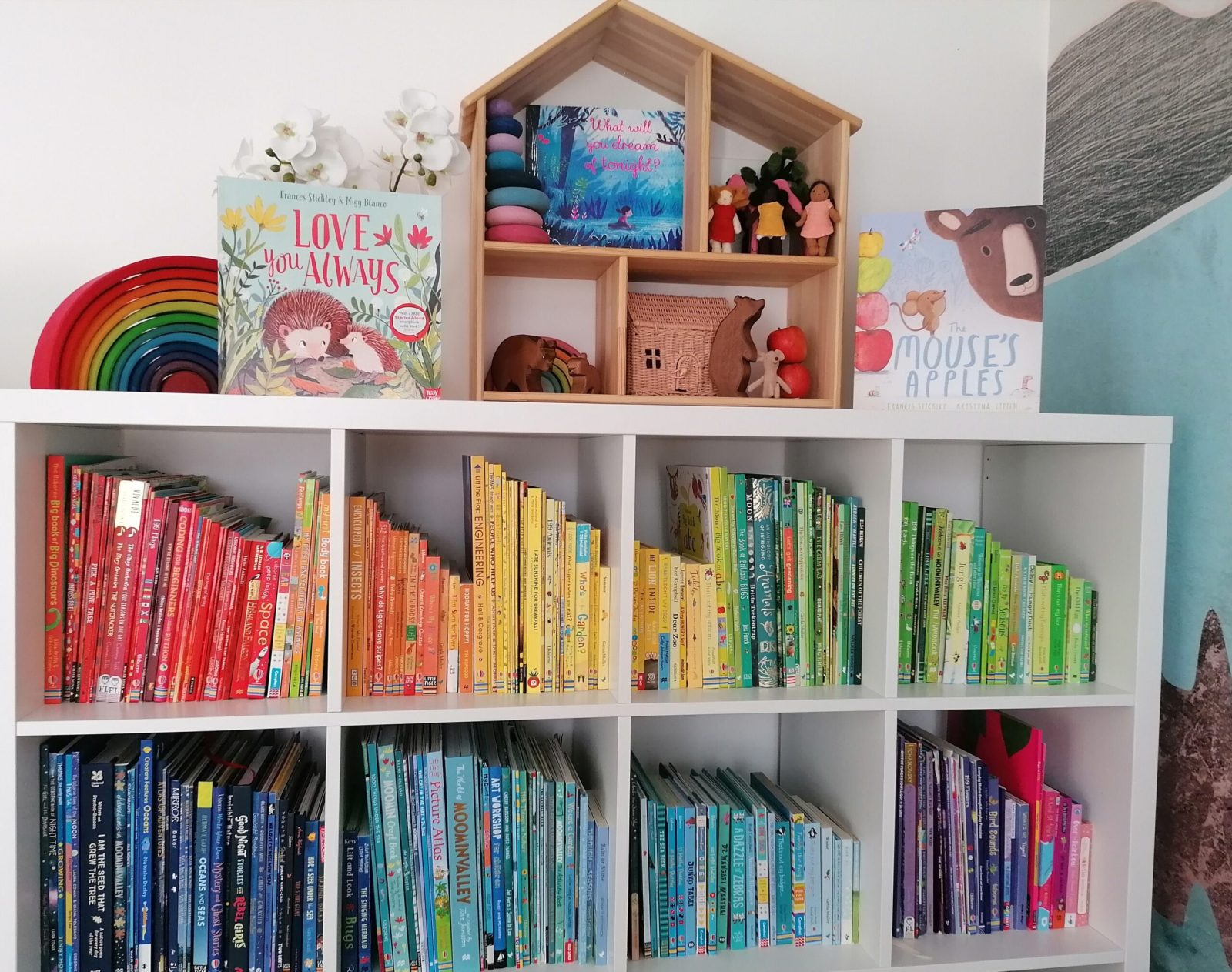 Book shelf with a rainbow of books and on the top shelf books by Frances Stickley including The Mouse's Apples by Frances Stickley and Kristyna Litten, what will you dream of tonight? and Love you always with story props to go with the stories