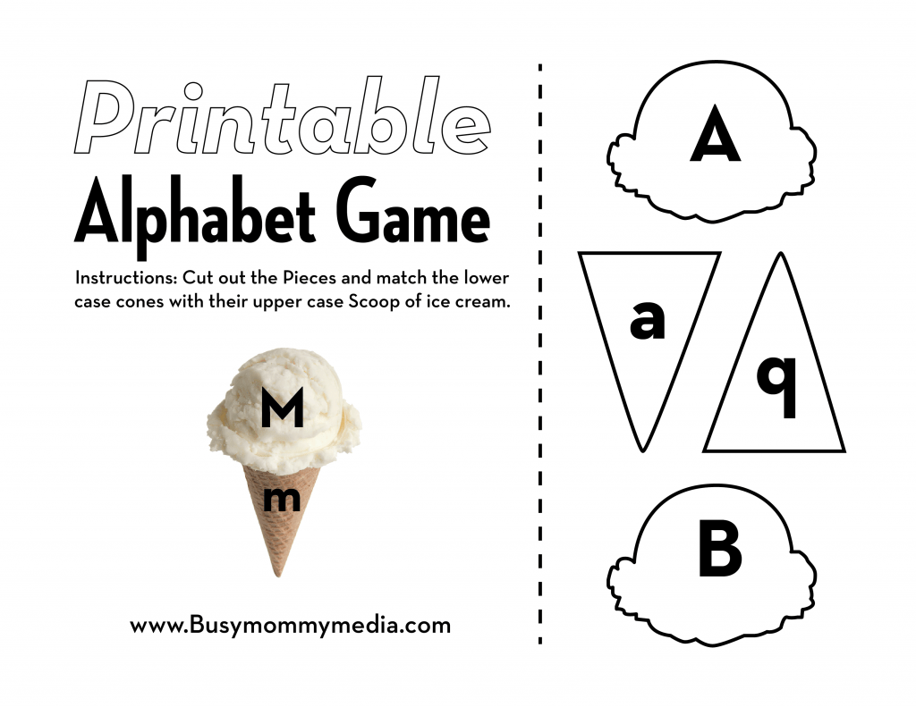 Preschool Printable Ice Cream Alphabet Matching Game