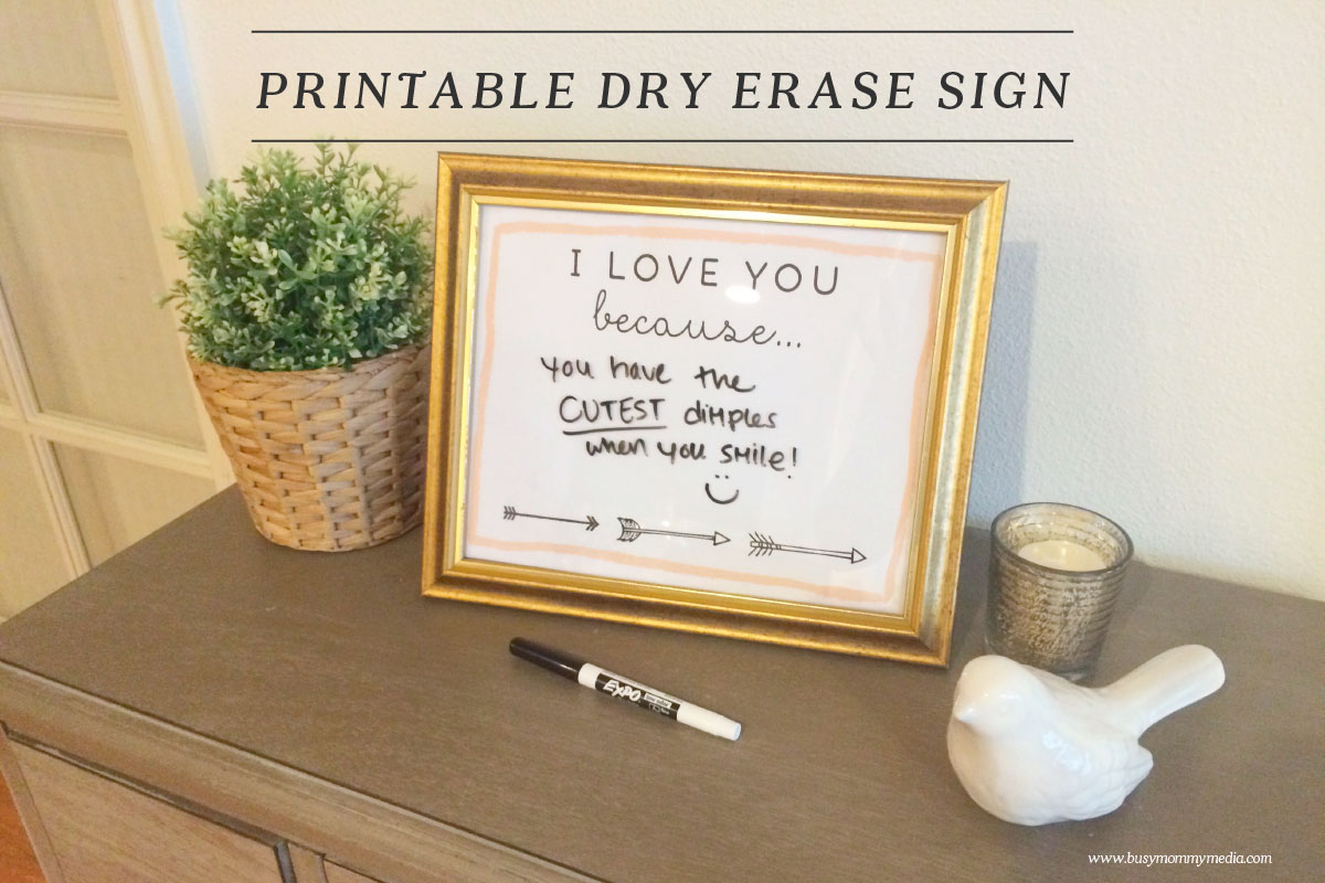 Printable I Love You Because Dry Erase Sign