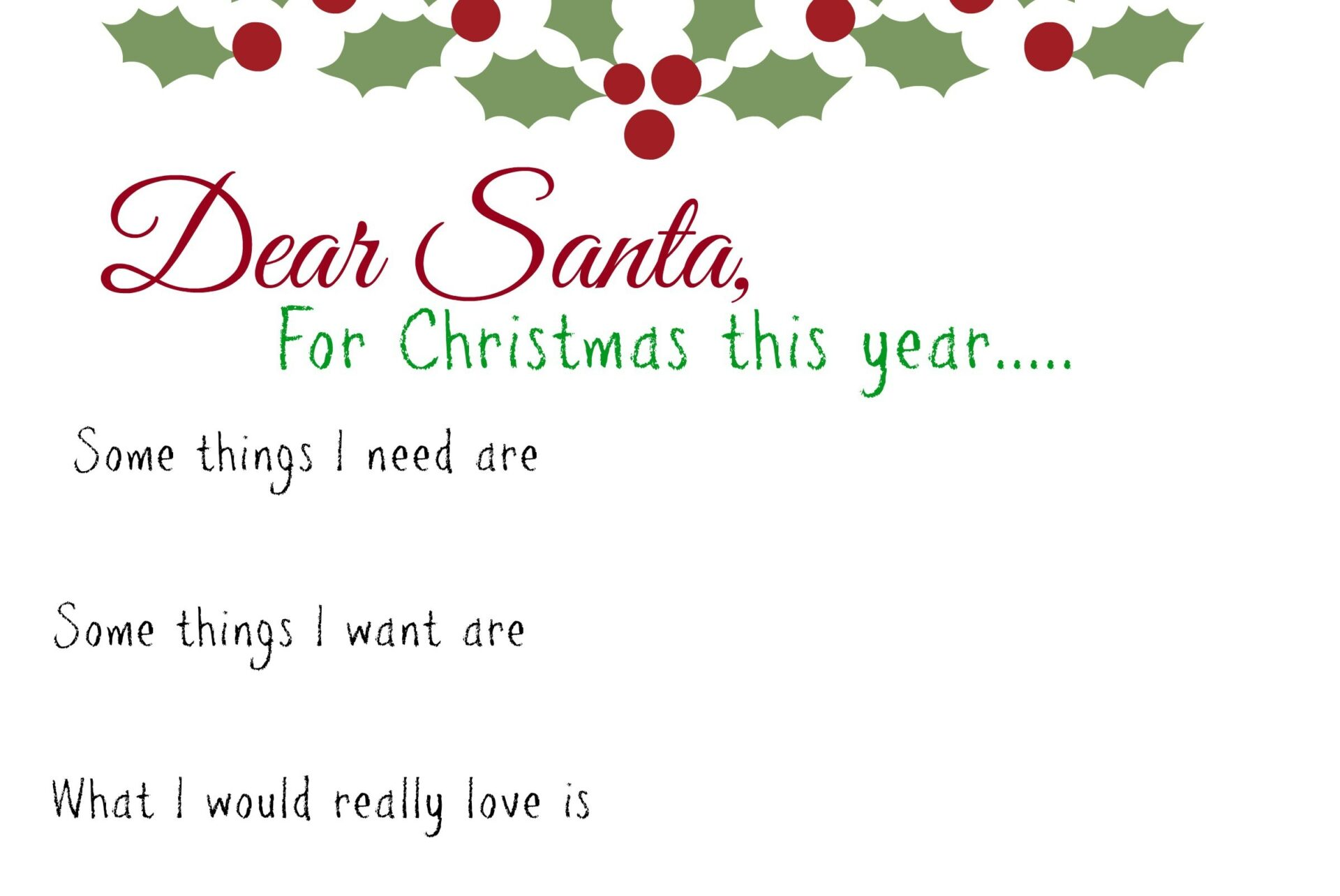Dear Santa Kids Wish List Printable