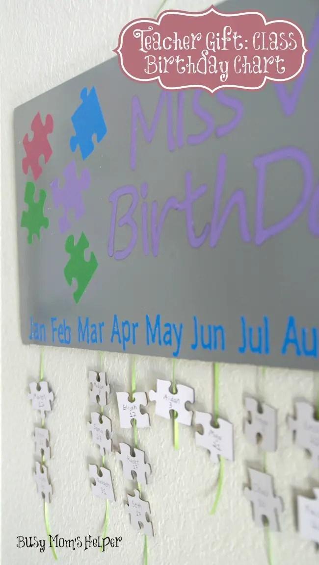 Teacher Gift Class Birthday Chart Busy Moms Helper
