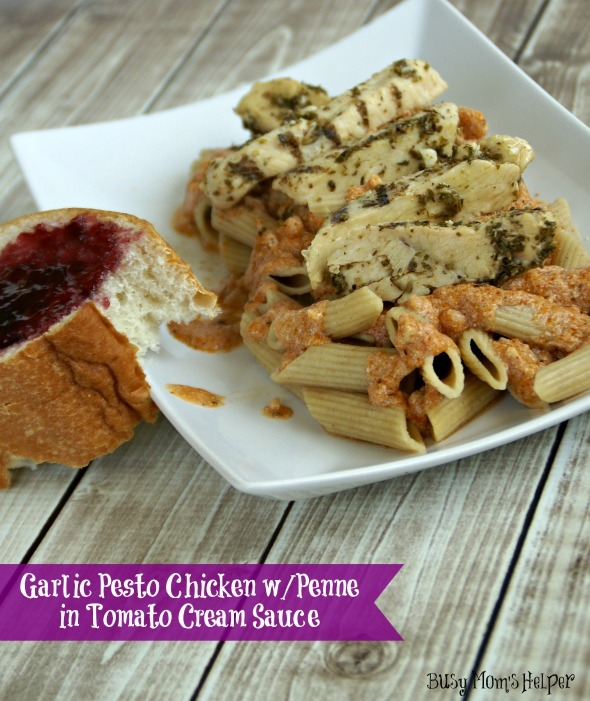 Garlic Pesto Chicken with Penne in Tomato Cream Sauce / by www.BusyMomsHelper.com #chicken #recipe #penne #pesto #sauce