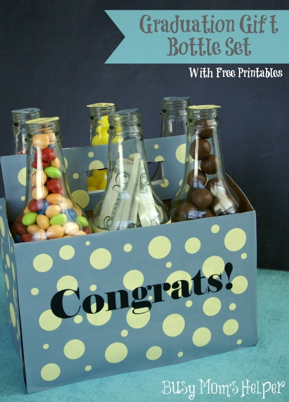 Graduation Gift Bottle Set with Free Printables / by www.BusyMomsHelper.com #Gift #Graduation #Printable