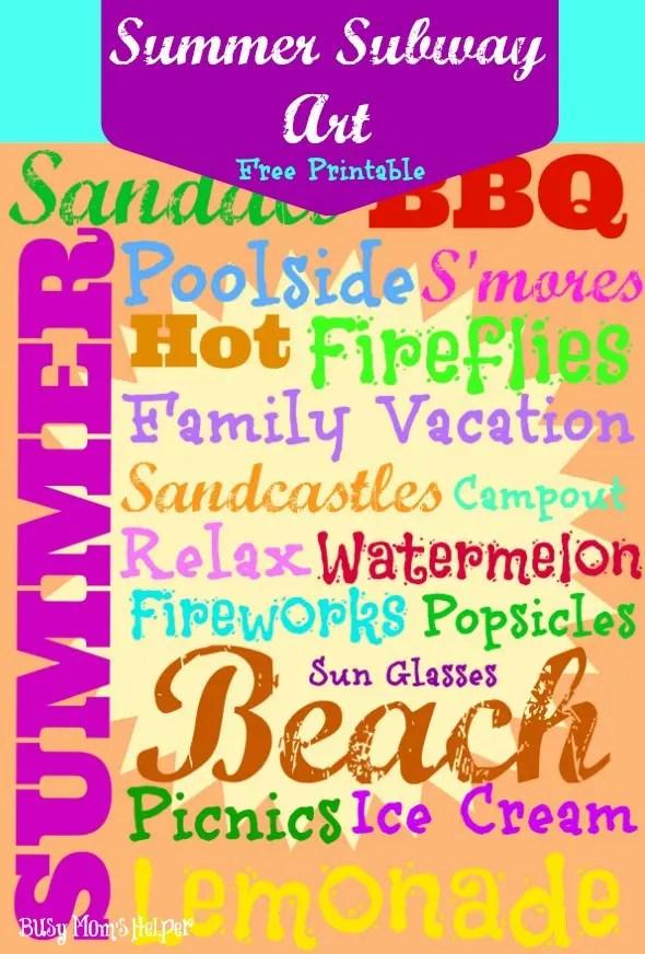 Summer Subway Art Free Printable / by www.BusyMomsHelper.com #freeprintable #summer #subwayart