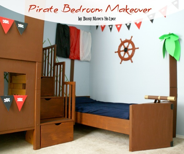 Pirate Bedroom Makeover / by www.BusyMomsHelper.com #pirate #bedroom #boysroom