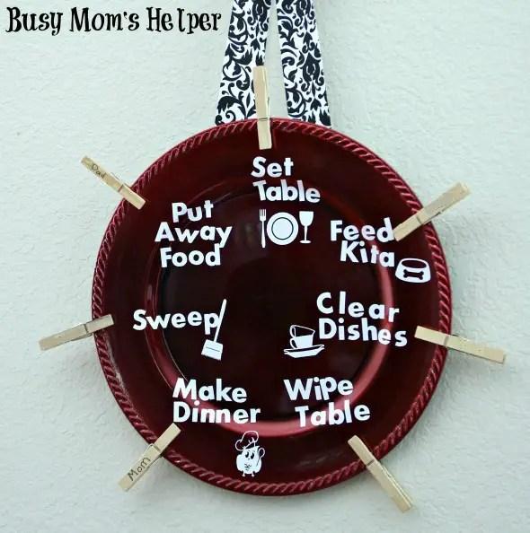 DIY Kitchen Chore Plate / by Busy Mom's Helper #chores #familychorechart #kitchenjobs