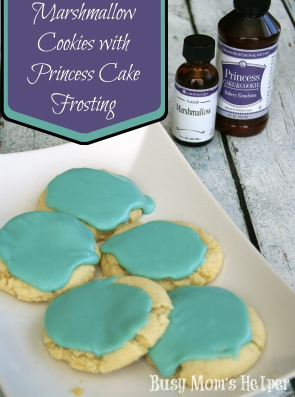 Marshmallow Cookies with Princess Cake Frosting / by Busy Mom's Helper #recipe #cookies #frosting #LorAnn