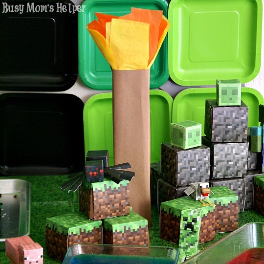 Make Your Own Minecraft Torch: Party #2 / by Busy Mom's Helper #minecraft #party #decor #torch