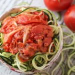Spiralized Zucchini with a Simple Roasted Tomato Sauce l Gluten-Free and Vegetarian l by Steph in Thyme for Busy Mom's Helper