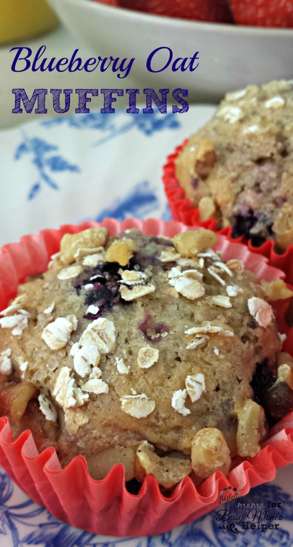 Hearty Blueberry Oat & Walnut Muffins by Juggling Act Mama for Busy Mom's Helper