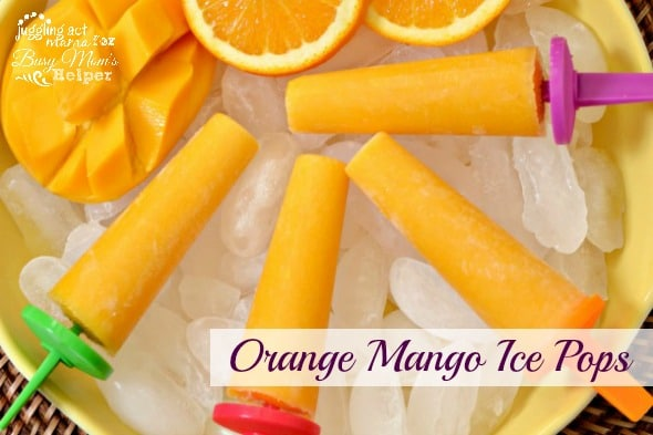 Mango Orange Ice Pops via Juggling Act Mama as seen on Busy Mom's Helper