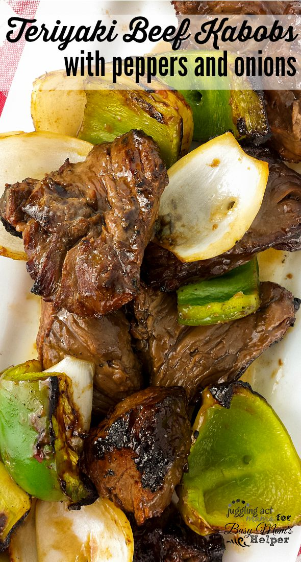Teriyaki Beef Kabobs with peppers and onions