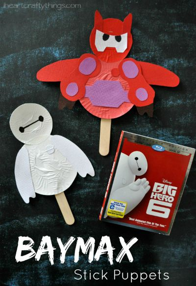 Baymax Stick Puppets / by I Heart Crafty Things / Round up by Busy Mom's Helper