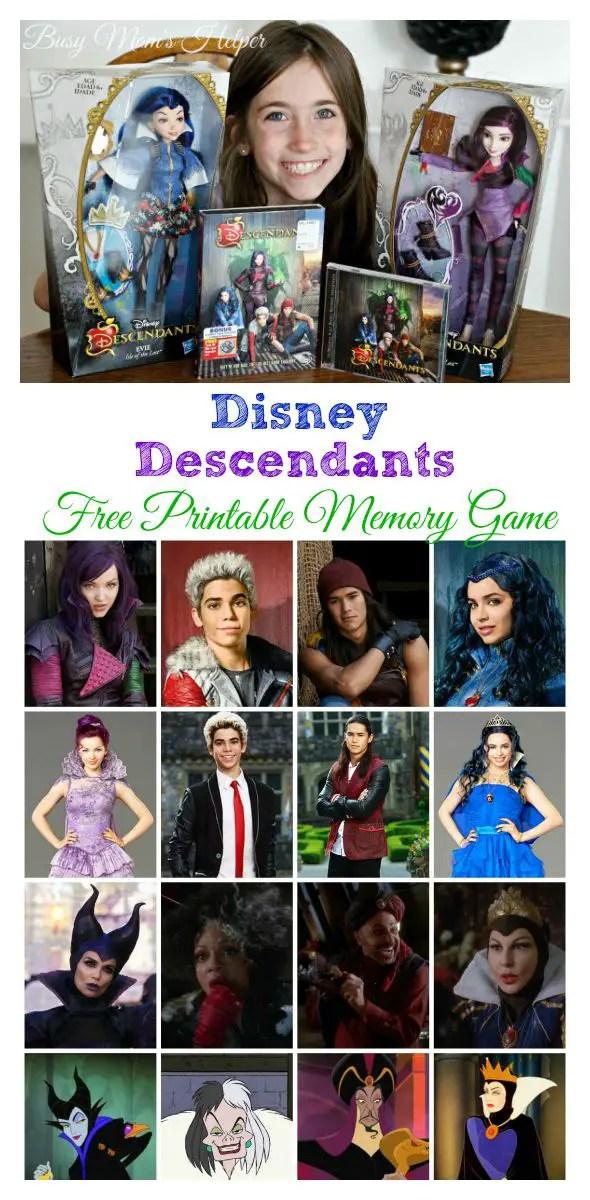 Disney's Descendants Free Printable Memory Game / by Busy Mom's Helper #Disney #VillainDescendants #ad