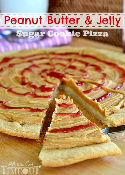 Peanut Butter & Jelly Sugar Cookie Pizza from Goofy's Kitchen / by Mom on Timeout / Round up by Busy Mom's Helper