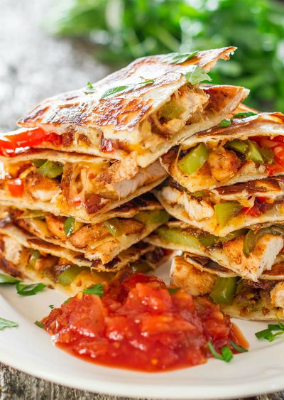 Chicken Fajita Quesadillas / by Jo Cooks / Round up by Busy Mom's Helper