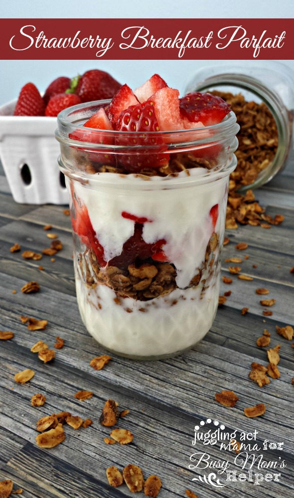 Strawberry Breakfast Parfait with yogurt and granola