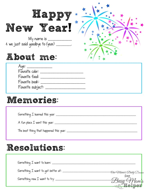 New Year S Eve Printable For Kids