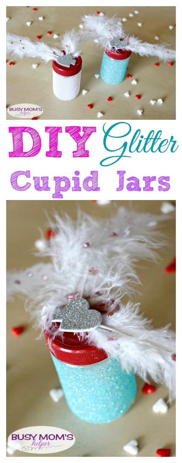 DIY Glitter Cupid Jars / a Valentine's Day craft by BusyMomsHelper.com / perfect party favor or gift idea