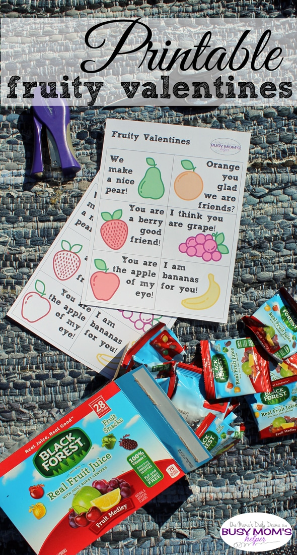 Printable fruity valentines | One Mama's Daily Drama for Busy Mom's Heper