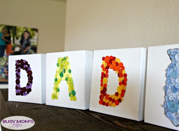 Button Art Dad Gift / by BusyMomsHelper.com / Great Father's Day Craft for Kids