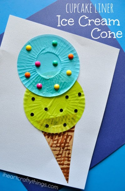 cupcake liner ice cream cone craft