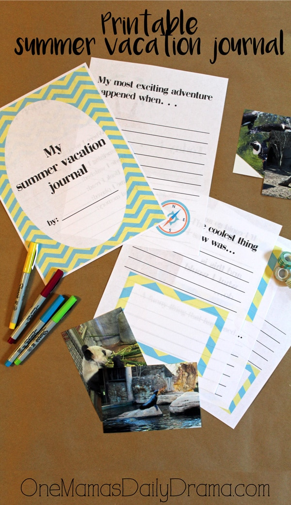 Printable summer vacation journal writing prompts by OneMamasDailyDrama.com