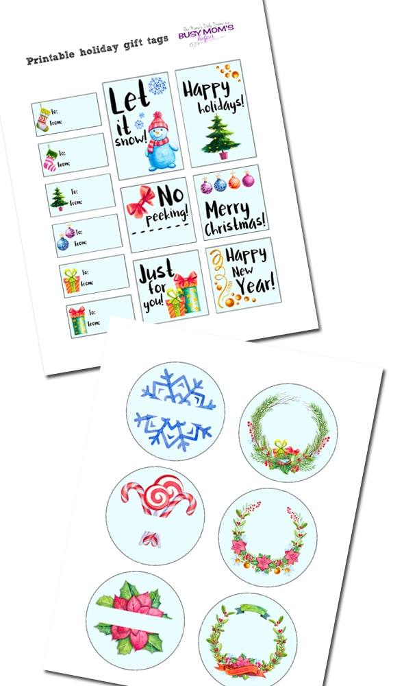 FREE printable holiday gift tags for Christmas | One Mama's Daily Drama for Busy Mom's Helper