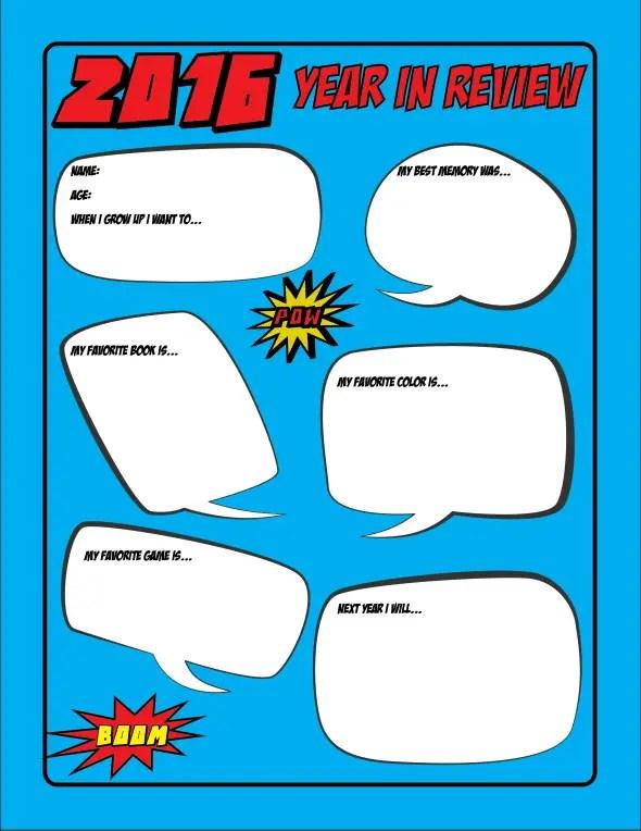 Free Printable Superhero Kids Year in Review Sheet