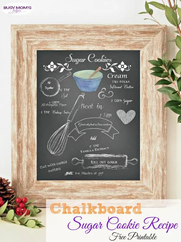 Chalkboard Sugar Cookie Recipe Printable /  you'll love this printable sugar cookie recipe!