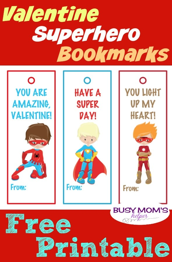 graphic about Printable Valentine Bookmarks titled Printable Valentine Superhero Bookmarks - Active Mothers Helper