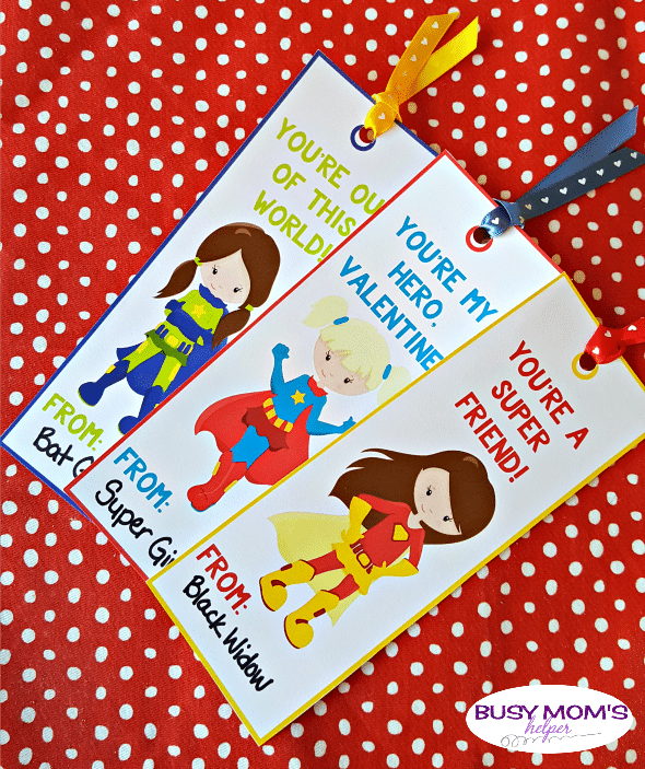 Superhero Girl Valentine Bookmarks