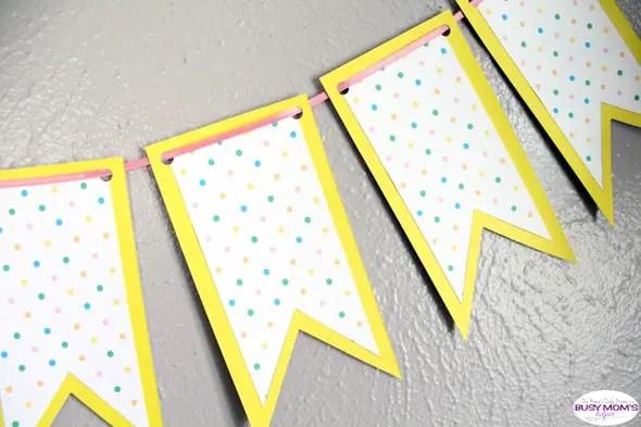 Printable spring banner: bright polka dots paper craft