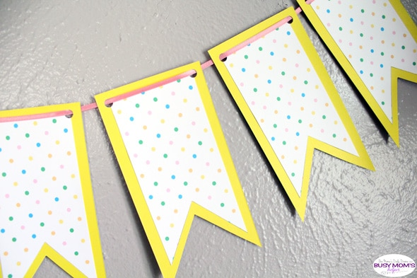 Printable spring banner: bright polka dots paper craft