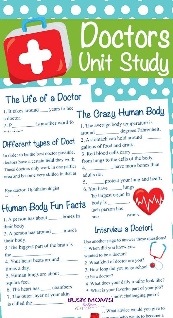 Doctor Unit Study Printable Pack - Busy Mom's Helper