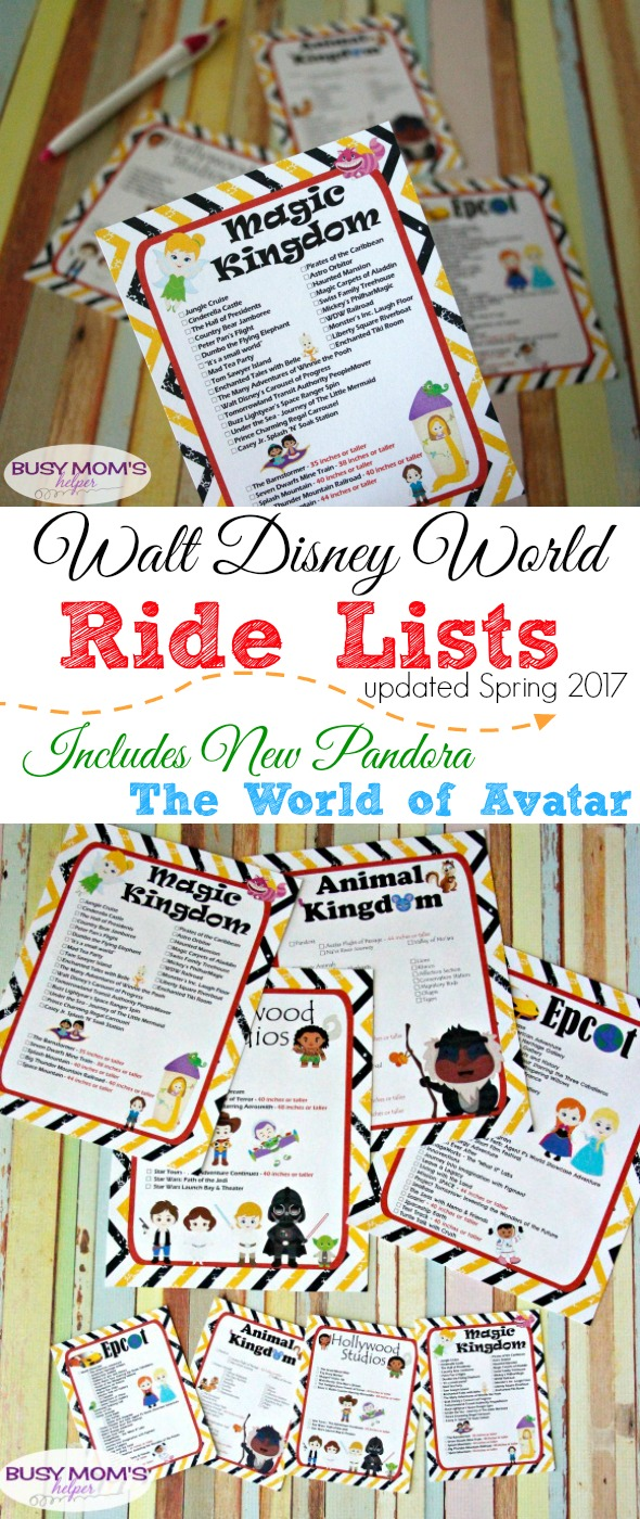 Walt Disney World Ride Lists including new Pandora land in Animal Kingdom / Free Printables