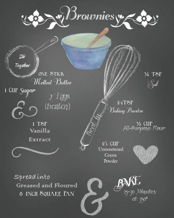 Printable Brownie Recipe Decor / A fun chalkboard brownie recipe printable to decorate a pot luck party, your kitchen or anywhere!