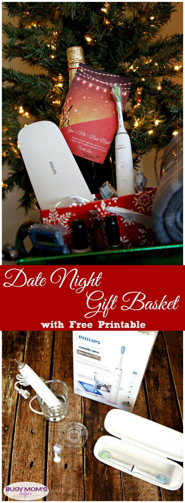 Date Night Gift Basket with Free Printable Gift Tag #AD #WorldsSmartestToothbrush #PhilipsSonicare #OprahsFavoriteThings