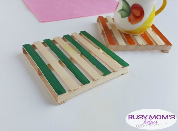 DIY Popsicle Stick Coasters / a fun craft for adults, kids, teens or anyone! #craft #diy #paint #popsiclestick #craftstick #project #activity