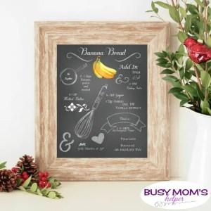 Printable Banana Bread Recipe Chalkboard Art
